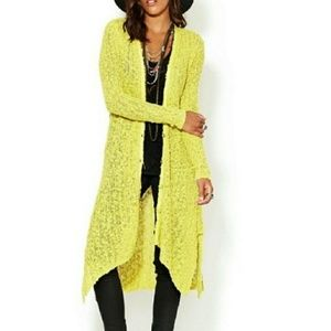 Free people chartreuse duster long cardigan small